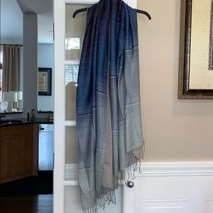 Accessories - Blue Stripe Ombré Pashmina